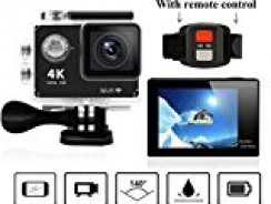 VVHOOY WiFi 4K Ultra HD 2.0 inch 1080P 12MP Sport Action Camera with Remote Control and Free Accessories(Black)