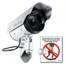 Solar Powered Dummy/Fake Security Camera, Battery Recharged by Sun, Home or Business, Silver