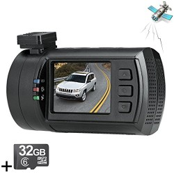 ChiTronic New Upgrade Mini 0806 Pro Super HD 1296P Car Dash Camera Blackbox Video Recorder with Latest Ambarella A7LA50 Processor + OV4689 Sensor + 256GB(2X 128GB) Max Capacity Support + FCWS&LDWS Security,with GPS Logger + 32GB Memory Card