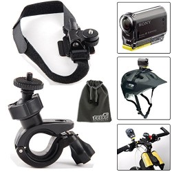 EEKit Car Mount Kit for Point & Shoot Camera Action Camera and Video Camera Sony Action Cam HDR-AS20 HDR-AS15 HDR-AS30V HDR-AS100V/Sony Action Cam HDR-AZ1 Mini Sony FDR-X1000V/W 4K Action Cam, Bike Handlebar Mount + Bike Bicycle Helmet Mount Holder + EEEKit Pouch