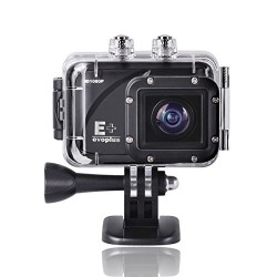 Evoplus Mirage Waterproof 1080P 12MP Anti-Shake Sports Camera Bundle with Waterproof Housing, Battery and Accessories (11 Items)