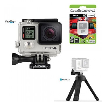 GoPro-HERO4-BLACK-12MP-Full-HD-4K-30fps-1080p-120fps-Built-In-Wi-Fi-Waterproof-Wearable-Camera-Adventure-16GB-Edition-with-GoPole-Base-Bi-Directional-Compact-Tripod-0