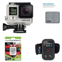 GoPro HERO4 BLACK 12MP Full HD 4K 30fps 1080p 120fps Built-In Wi-Fi Waterproof Wearable Camera Adventure 16GB Edition with GoPro Smart Remote and GoPole Venturecase Weatherproof Softcase