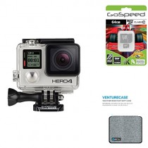 GoPro HERO4 BLACK 12MP Full HD 4K 30fps 1080p 120fps Built-In Wi-Fi Waterproof Wearable Camera Adventure 64GB Edition with GoPole Venturecase Weatherproof Softcase