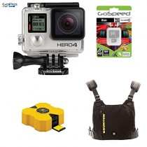 GoPro HERO4 BLACK 12MP Full HD 4K 30fps 1080p 120fps Built-In Wi-Fi Waterproof Wearable Camera Adventure 8GB Edition with BRUNTON HEATSYNC Vest and Revolt 4000 4400mAh Portable Power Pack (Yellow)