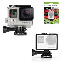 GoPro Hero4 Hero 4 12MP Full HD 4K 30fps 1080p 120fps Built-In Wi-Fi Waterproof Wearable Camera Black Adventure Edition (Frame + 8GB)