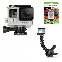 GoPro Hero4 Hero 4 12MP Full HD 4K 30fps 1080p 120fps Built-In Wi-Fi Waterproof Wearable Camera Black Adventure Edition (Gooseneck + Frame + Jaws + 8GB)
