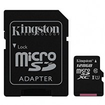Kingston Digital 128GB microSDXC Class 10 Flash Card with Adapter (SDCX10/128GB)