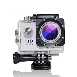 MAOZUA 1080P WiFi Action Camera 12MP 170 Degree Helmet Sports Camera Waterproof With 2 Batteries and 1 Battery Charger Support Audio, HDMI, USB (WHITE)