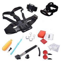 MCOCEAN 12 in 1 Accessories Bundle for GoPro Hero 4 Hero 3+ Hero 3 Camera:Selfie Stick+Floating Hand Grip+Head Strap with chin strap+Floating Foam Set+Insurance Tether+Locking Plug etc.