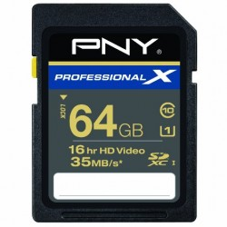 PNY Professional X 64 GB High Speed SDXC CL10 UHS-1 Rated Flash Memory (P-SDX64U1-30-GE)