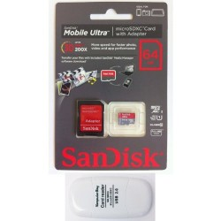 SanDisk 64GB Mobile Ultra MicroSDXC Class 10 UHS-1 30MB/s Memory Card with SD Adapter (NEW VERSION) – Retail Packaging with Komputerbay SDXC USB Reader