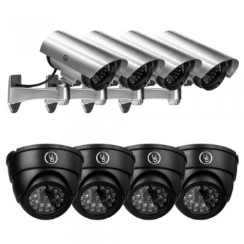 Yubi-Power-Security-Bundle-of-8-Fake-Outdoor-Surveillance-Dummy-Cameras-with-Blinking-IR-Lights-4x-YB-CA11-4x-YB-250-0