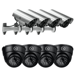 Yubi Power Security Bundle of 8 Fake Outdoor Surveillance Dummy Cameras with Blinking IR Lights – 4x YB-CA11 + 4x YB-250