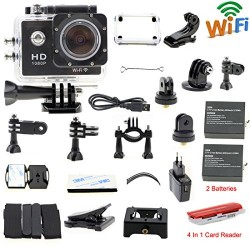 icools Black Wifi Sports Camera Waterproof (hd 1080p + 170 Degree Wide Angle + Diving 30M + 1.5Inch Lcd Display + 2PCS Battery) Car Recorder Helmet Cam Bicycle Action Camera for Biking, Riding, Racing, Skiing, Motocross And Water Sports